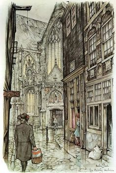 Anton Pieck was a Dutch painter and graphic artist. The work of Anton Pieck contains paintings in oil and watercolour, etchings. Croquis Architecture, Anton Pieck, Dutch Painters, Dutch Artists, Oeuvre D'art, Painting & Drawing, Amazing Art, Love Art, Concept Art