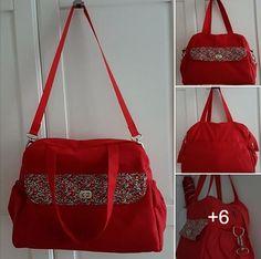 Sac à langer Boogie cousu par Moja Home Made - toile de coton rouge et Liberty - Patron sac à langer Sacôtin