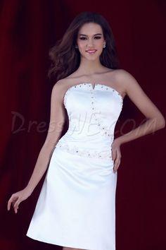 Dresswe.com SUPPLIES Pretty A-Line Beading Strapless Knee-length Sandra's Bridesmaid Dress Bridesmaid Dresses 2014