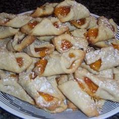 Czechoslovakian Kolacky Cookies which is a delicious soft delicate pastry filled with your favorite lekvar filling of apricot or prune Slovak Recipes, Czech Recipes, Hungarian Recipes, Hungarian Food, Ethnic Recipes, Filled Cookies, Yummy Cookies, Apricot Filling Recipe, Kochen