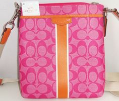 Coach Signature Pink Orange Stripe Swingpack Crossbody Purse Handbag F51265 New #Coach #Crossbody