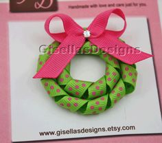 Christmas korker Wreath Ribbon sculpture bow w / original swarovski crystal/ hair clip. $7.95, via Etsy.
