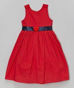 This Red & Navy Babydoll Dress - Toddler & Girls is perfect! #zulilyfinds