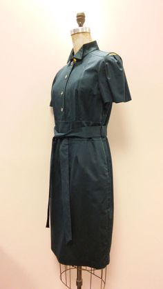 *STUN* Gorgeous PORTS 1961 Charcoal Gray Open Shoulder Pockets Belted Dress Sz 8 #Ports1961 #WigglePencil