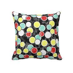 Distressed Retro Circles Throw Pillows