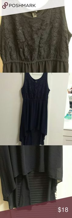 Deep Blue Women's High-Low Sleeveless Dress Only worn once! This dress is so comfortable and has a lace detailing on the top with a cinched in waist to give a great figure. The high-low design flows beautifully! Forever 21 Dresses High Low