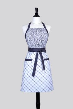 Cute Kitsch - Womens Retro Apron Elegant Gray and White Plaid and Floral Full Coverage Vintage Style Womans Apron with Pockets by CreativeChics on Etsy