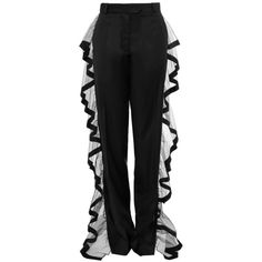 AW16 OUTLINE TROUSERS featuring polyvore, women's fashion, clothing, pants, ruffle pants and tailored pants