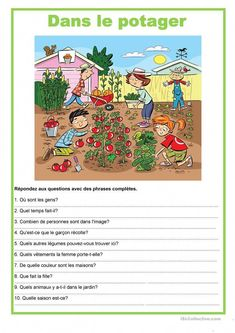 Picture description - In the vegetable garden worksheet - Free ESL printable worksheets made by teachers Creative Writing Topics, English Creative Writing, English Writing Skills, English Vocabulary, Teaching English, English Worksheets For Kids, English Lessons For Kids, English Activities, Picture Comprehension