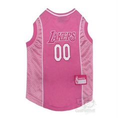 15e8c0560 Cotton and mesh tank Los Angeles Lakers pink pet jersey with screen printed  team NBA basketball