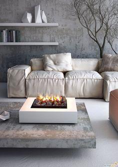 #interiors #living rooms #white sofa