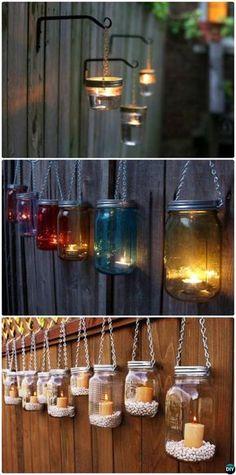 DIY Hanging Mason Jar Lights #Garden Fence #Decor Instructions-20 Fence Makeover Ideas