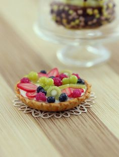Fresh fruit tart 1:12 scale dollhouse miniature dessert