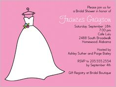 It's Her Party Bridal Shower Invitations idea to use a hanging dress