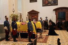 wrapped coffins of archduke otto and his wife, habsburg funeral 2011