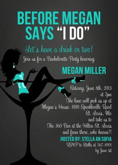 Before She Says I Do in Blue - bachelorette party invitation