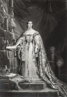 Only child of Prince Edward Augustus Duke of Kent (1767–1820) & Princess Victoria (Marie Luise Viktoria) (1786–1861) of Saxe-Coburg & future wife of Prince Albert of Saxe Coburg & Gotha (1819-1861). Victoria's (1819-1901) coronation in 1838 by Sir George Haylor. On William IV's death in 1837 she became Queen at the age of 18. That day in the sky over London was seen a black swan-a sign she would not stay on the throne for long. This was proved untrue since she reigned almost 64 years.