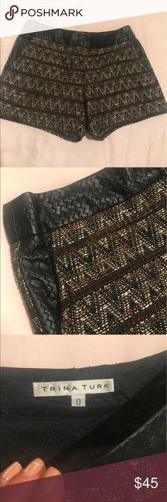 Trina Turk shorts Trina Turk tweed shorts with leather detail. Size zero Trina Turk Shorts