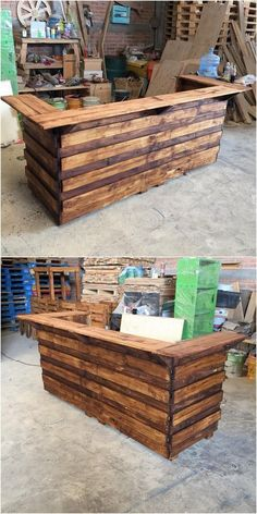 Bring home this antique style of the wood pallet counter table that is brilliantly being added with the conceptual contemporary designing taste of the wood pallet all into it. See how creatively the whole creation designing has been carried out with the wood pallet functioning that look so extraordinary.