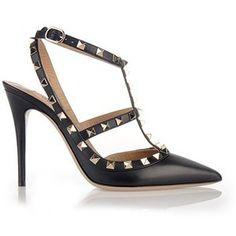 VALENTINO Black Leather 'Rockstuds' Sandals