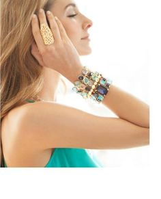 """Get your #shimmer on with the #ocean #blues of the Asana #Cuff. in #gold prong settings. $58 item #: KRY40001073  Stack with the Rain #Bracelet of shimmering transparent stones in in blue.$54 item # BSH40001077  The Chloe Gold #Bracelet is timeless. #Chunky metal #nuggets look great solo or stacked.   The Jennie #Ring is #simple yet #dramatic i with the #openwork #geometrical design. $42.... 2"""" vertical...item # EMG10001043  http://journeyaccessories.kitsylane.com/"""