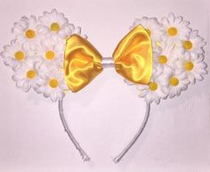 Floral Mickey Mouse Ears Headband Daisies by CraftedBySophia