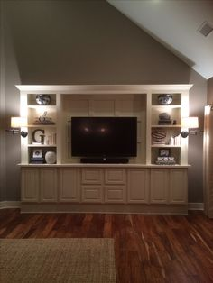 DIY Entertainment Center with Sconce Lighting.