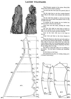 "Pattern for a Ladies' Polonaise, 1880's.  Source: ""The National Garment Cutter Book of Diagrams"" - Goldsberry, Doran & Nelson (1888)"
