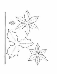Poinsettia and holly pattern!template for poinsettia flower We are a single unit. We'll get through this, bsby!All leaves template! Paper Flowers Diy, Handmade Flowers, Felt Flowers, Flower Crafts, Fabric Flowers, Christmas Projects, Felt Crafts, Holiday Crafts, Christmas Crafts