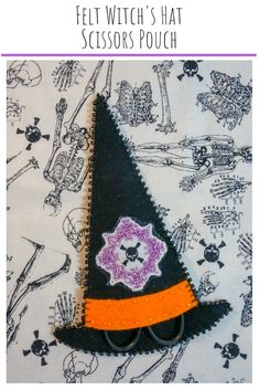Get ready for some Halloween stitching with this fun Felt Witch's Hat Scissors Pouch! Keep your embroidery scissors snug all season long. Fall Projects, Halloween Projects, Halloween Crafts, Halloween Decorations, Sewing Projects, Halloween Ideas, Halloween Sewing, Halloween Witches, Halloween Halloween