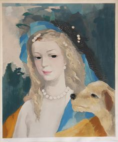 """Art for Children: French artist Marie Laurencin """"Young Girl with Dog"""". Beautiful Original art for sale."""