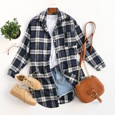 Create a chic shirt dress look with this oversized plaid shirt by layering it over some basics! ❤❤ #outfits #casual #plaid #ootd #romwe