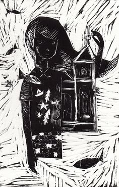 """""""Menina, fachada e peixes"""", xilogravura (woodcut), 14,5 x 23 cm, 2014. Fabio Dudas."""