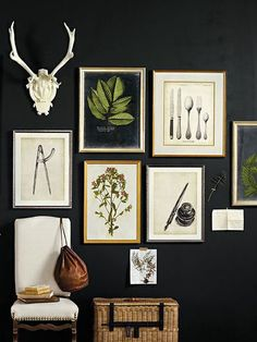 Gallery Wall should I choose to keep my green antique table and paint a wall black
