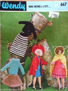 "Wendy 667 DK & 4 Ply 12"" Doll Clothes Vintage Knitting Pattern"