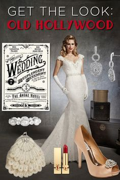 Get The Look: Old Hollywood- If you daydream of delicate white lace, luscious red lips, and diamonds for your special day, then you are envisioning an Old Hollywood themed wedding.   This era is inspired by vintage beauties like Grace Kelly, Audrey Hepburn, and Elizabeth