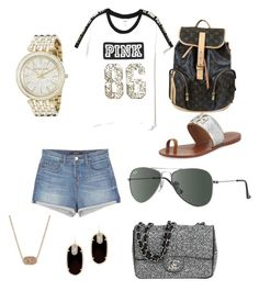 """Great for school"" by gracie-mccollough on Polyvore featuring Louis Vuitton, Victoria's Secret, J Brand, Tory Burch, Ray-Ban, Michael Kors, Kendra Scott and Chanel"