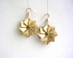 Origami Earrings - White Gold Paper Jewelry - Paper Anniversary - Origami Jewelry - 1st Anniversary - Anniversary Paper Gift - Boho Earrings