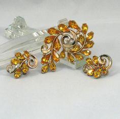 Vintage Gold Rhinestone Brooch and Earring set by VintageCreekside, $24.00