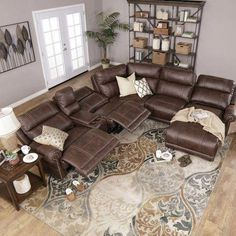 Northridge Brown Section: LAF Power Recliner, Console, Power Armless Recliner, Corner Wedge, Stationary Armless Chair & RAF Power Reclining Chaise Home decor by Living Room Sectional, New Living Room, Brown Leather Couch Living Room, Leather Living Room Furniture, Living Room Decor Brown Couch, Dark Brown Couch, Brown Leather Furniture, Grey And Brown Living Room, Sala Grande