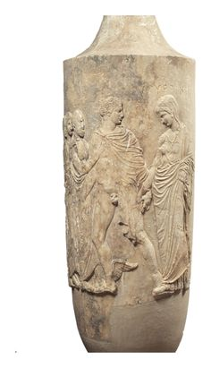 The marble funerary lekythos of Myrrhine, found in Athens  420-410 BC.