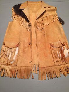 Vintage true native leather vest with by SelahVintagethreads