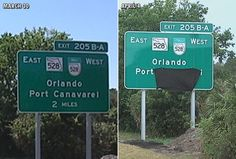 Cape Canaveral sign mistake