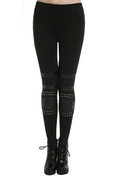 Studded Black Leggings. Description Black leggings, featuring high waist with elastic styling, dual-tone design on body, studs embellishment on both laps.  Fabric Cotton and Vinyl. Washing Specialist Dry Clean. #Romwe