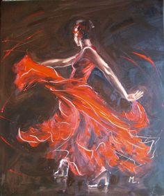 """ARTFINDER: """" FIRE OF FLAMENCO """" by Monika Luniak - OIL ON CANVAS signed with a certificate of authenticity. I use a knife palette, original, oil on canvas and heavily textured. 50x60cm, ready to hang, pict..."""