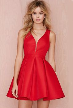 Red Sleeveless Flare Dress 23.59