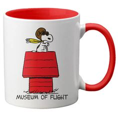 "The ""Your Captain Snoopy"" mug is a white 11oz. mug with a red handle and interior.  The mug has Snoopy in his WWI pilot uniform flying his dog house ""Sopwith Camel"" ready to fight the Red Baron, with Museum of Flight written below."
