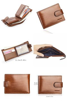 [Visit to Buy] Brown Italian Cattle Neckline Real Genuine Leather Wallet Men ID Credit Card Holder Small Purse Portomonee Portefeuille Carteras Men's Bags, Cattle, Luggage Bags, Leather Wallet, Zip Around Wallet, Card Holder, Neckline, Purses, Brown