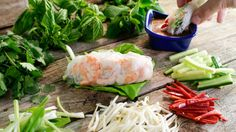 Summer Rolls and Rotisserie cold noodle salad Two no cook meals for summer that I saw on Rachael Ray today. Looks yummy! Shrimp Spring Rolls, Summer Rolls, Seafood Recipes, Appetizer Recipes, Cooking Recipes, Appetizers, Seafood Dishes, Skillet Recipes, Cooking Tools
