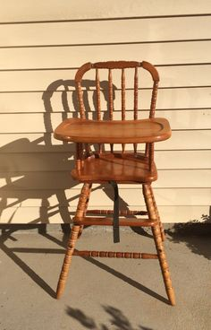 Vintage Wooden High Chair, Jenny Lind, Antique High Chair, Vintage High  Chair,